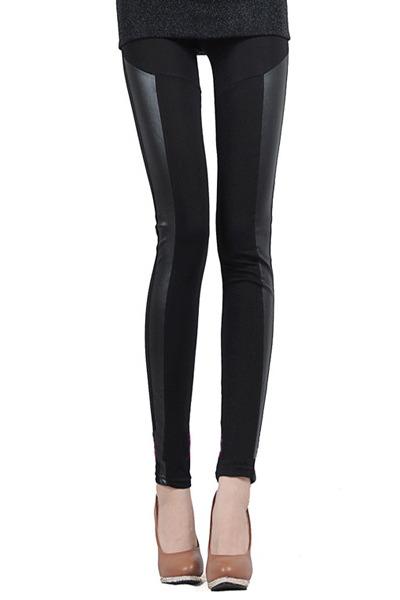 black pu panel leggings