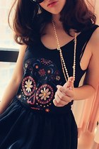 Deep U Neckline Black Tank with Colorful Skull Print