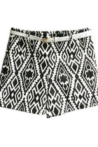 Mono Diamond Print Shorts with Belt