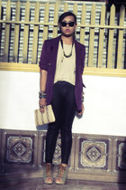 second hand blazer - Prima leggings - Parisian bag - korean brand top