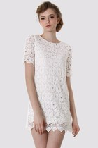 White Crochet Floral Shift Dress