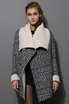 Aztec Tribal Shearling Drape Cape Jacket