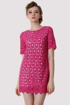 Hot-Pink Crochet Floral Shift Dress