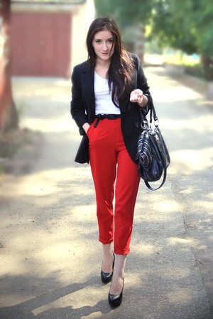 VDOXNOVENIE pants - adilishik blazer - no name bag - vintage belt - no pumps
