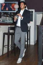 white bowtie People Tree tie - white versace shoes - navy Zara blazer