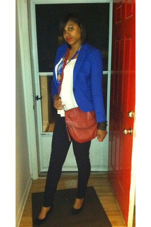 blue love21 blazer - deep red Forever 21 bag - tribal Forever 21 necklace