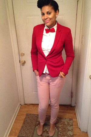 red bow tie H&M tie - skinny jeans Forever 21 jeans - red classic fit blazer