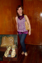 top - jeans - liz claiborne purse - Grendha shoes - necklace