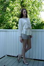 White-blouse-beige-shorts-bd-shoes-silver-forever21-necklace