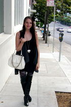 white purse - black Bebe dress - silver Forever21 necklace - tights - gray Bebe