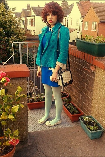 blue Primark dress - neutral Urban Outfitters shoes - blue H&M jacket