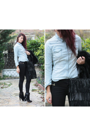 black Zara boots - light blue H&M shirt - black Zara bag - black Zara pants