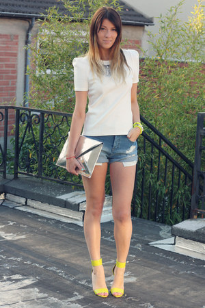 silver Zara purse - yellow H&M shoes - sky blue Forever 21 shorts