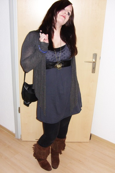 blue H&M dress - black Hot Topic belt - black zoo york pants - brown vintage sho