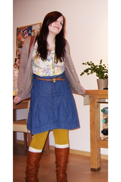 white H&M blouse - beige Mango cardigan - blue Only skirt - yellow Accessorize t
