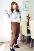 off white H&M t-shirt - heather gray H&M cardigan - brown Esprit pants