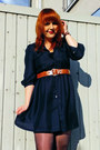Navy-zara-dress-beige-pimkie-bag-brown-vintage-belt-brown-h-m-flats