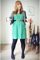 green Primark dress - charcoal gray swapped jacket - gold GINA TRICOT belt