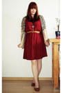 Brick-red-camaieu-dress-light-brown-h-m-cardigan-brown-h-m-belt