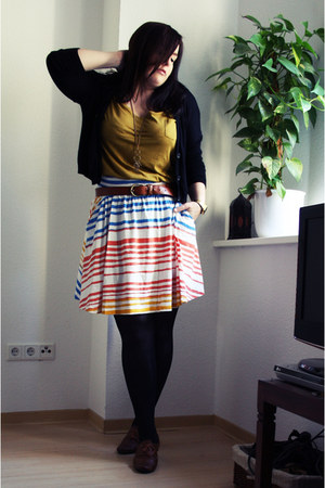 white H&M skirt - yellow H&M shirt - black H&M cardigan - brown Primark belt