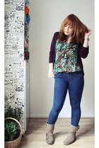 green Primark shirt - blue H&M jeans - maroon H&M cardigan
