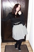 black H&M blazer - gray H&M skirt - silver Accessorize shoes - Accessorize acces
