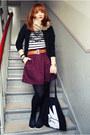 Camel-esprit-jacket-black-promod-shirt-maroon-h-m-skirt