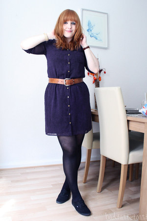 blue H&M jacket - deep purple Mexx dress - dark brown vintage belt