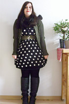black H&M dress - army green H&M cardigan - black vintage via Ebay bag