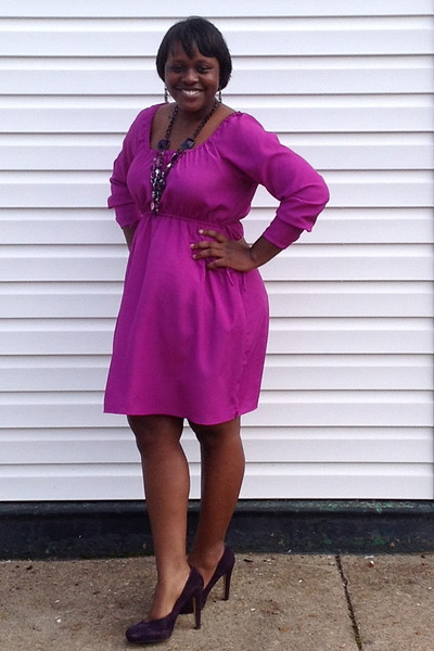 magenta dress - deep purple suede Nine West pumps