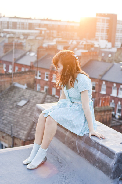silver glitter DIY heels - light blue Topshop dress - light blue asos socks