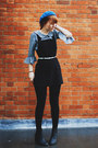 Black-thrifted-boots-black-thrifted-vintage-dress-blue-h-m-hat