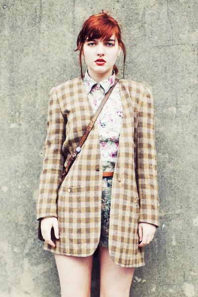 brown Sonia Rykiel blazer - beige thrifted shirt