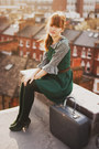Green-thrifted-pull-and-bear-dress-dark-green-urban-outfitters-coat