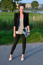 black blazer Minimum blazer - silver clutch H&M FAA bag - grey tee COS t-shirt -