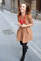 camel Zara dress - pixel boots acne shoes - red Lanvin for H&M necklace