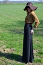 Zara-hat-black-maxi-hm-skirt-camel-silk-mango-blouse