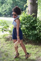 black playboy shoes - white H & M scarf - Co-Op shorts - vintage purse