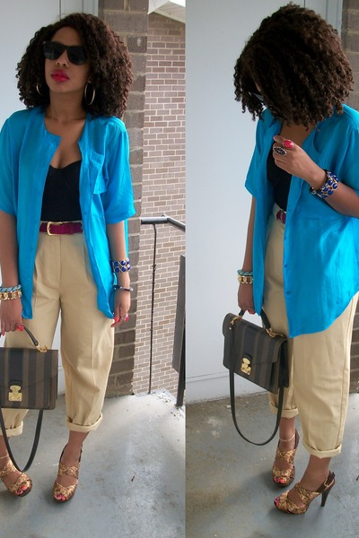 blue Secondhand shirt - Secondhand pants - vintage purse - Chinese Laundry shoes