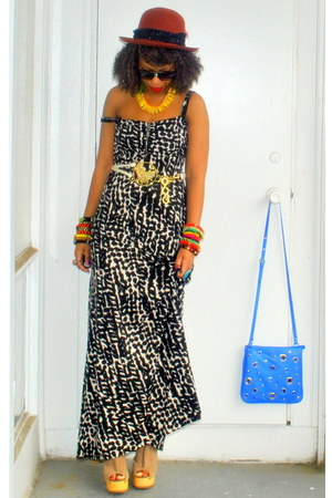black print maxi dress - yellow beaded custom accessories