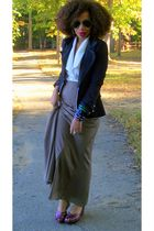 beige Forever 21 skirt - black Forever 21 blazer - red old wedges shoes - white