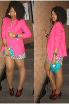 pink vintage blazer - white H&M dress - red Nine West shoes - blue vintage purse