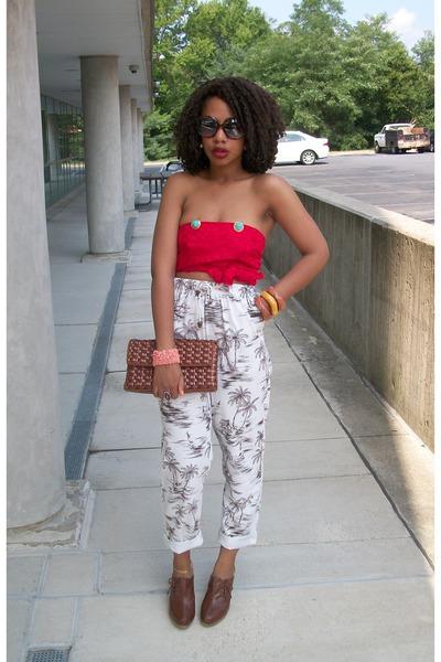 beige Secondhand pants - brown Nine West purse - brown payless clogs - red DIY t