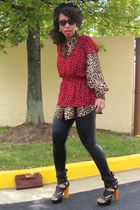black Forever 21 leggings - red Forever 21 top - brown Secondhand shirt - brown