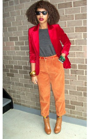 carrot orange Secondhand pants - gray XXI top - tawny Bonibel boots - brick red