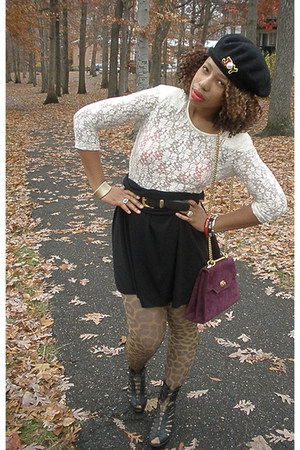 Co-Op top - skirt - H&M tights - accessories - shoes