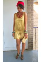 gold Forever 21 dress - green Qupid shoes - brown African necklace - Secondhand