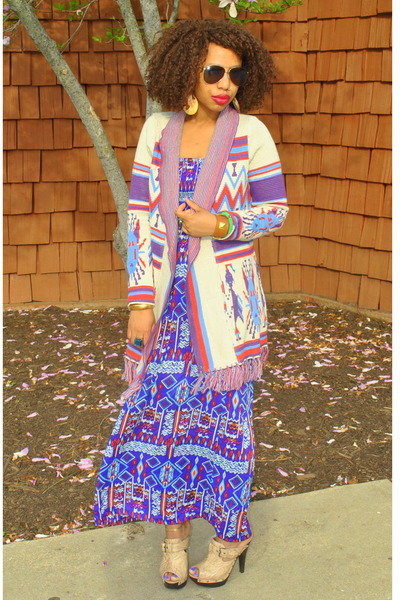 maxi dress with cardigan. amethyst tribal maxi dress