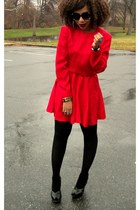 black wedges Steve Madden shoes - red reworked vintage dress