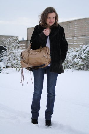 blue Acne Jeans jeans - white acne shirt - black H&amp;M coat - brown balenciaga pur